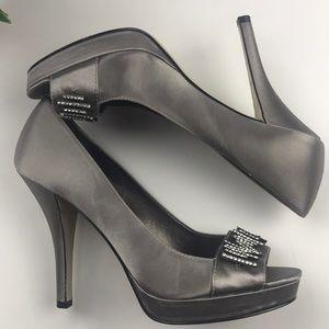 Calvin Klein Silver Platform Heels Size 7.5